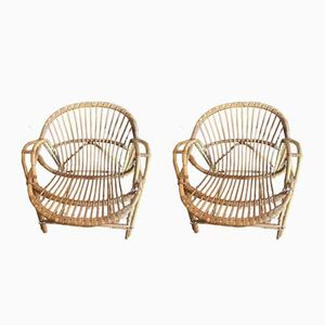 Rattan Armchairs, Set of 2