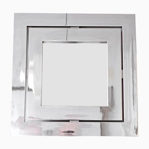 Square Italian Chromed Steel Mirror, 1960s