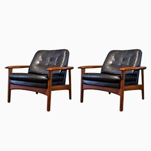 Scandinavian Black Leather and Teak Armchairs, 1970s, Set of 2