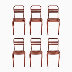 Rote T2 Esszimmerstühle aus Metall von Tolix, 1950er, 6er Set