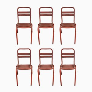 T2 Red Metal Dining Chairs from Tolix, 1950s, Set of 6