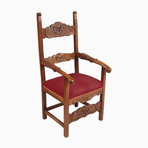 Sedia da throne ecclesiastica in legno di noce intagliato a mano, XIX secolo