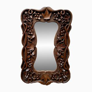 Antique Carved Wooden Wall Mirror