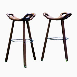Spanish Marbella Solid Wood Stools, 1960s, Set of 2