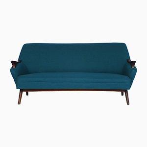 Vintage Teal Half Round Sofa, 1950s