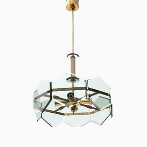 Brass and Glass Chandelier by Gino Paroldo, 1960s