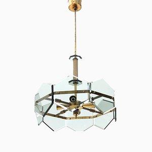 Lámpara de araña de latón y vidrio de Gino Paroldo, años 60