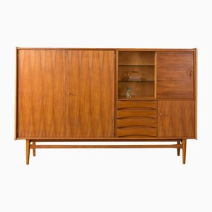 Highboard aus Nussholz, 1960er