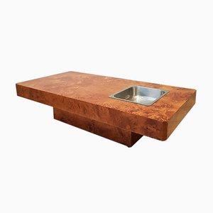 Mesa de centro vintage de madera nudosa de olmo de Roche Bobois, años 70