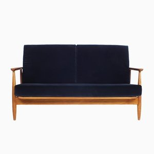 Dark Blue Velvet Two Seater Sofa, 1960s
