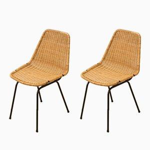 Chaises Vintage en Osier, 1950s, Set de 2