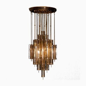 Brass & Smoked Glass Chandelier by Verner Panton for J. Lüber, 1960s