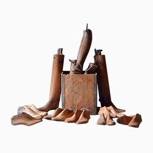 Forme di scarpe antiche in legno, set di 20