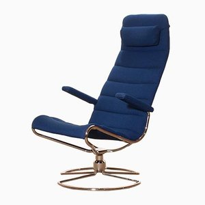 Model Minister Chrome & Royal Blue Swivel Chair by Bruno Mathsson, 1980s