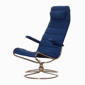 Silla giratoria modelo Minister de cromo tapizada en azul real de Bruno Mathsson, años 80