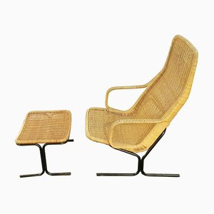 514C Set with Rattan Lounge Chair & Ottoman by Dirk van Sliedregt for Gebroeders Jonkers Noordwolde, 1960s