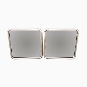 Moderne Spiegel mit verchromtem Stahlrohrrahmen, 1970er, 2er Set