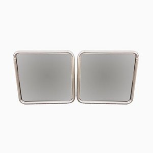 Modernist Chromed Tubular Steel Mirrors, 1970s, Set of 2