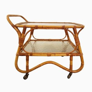 Rattan Serving Bar Cart by Margaret van Bekkum for Rohé Noordwolde, 1960s