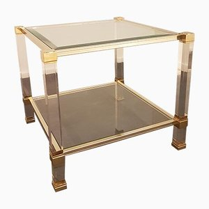 Lucite & Brass Side Table by Pierre Vandel, 1970s