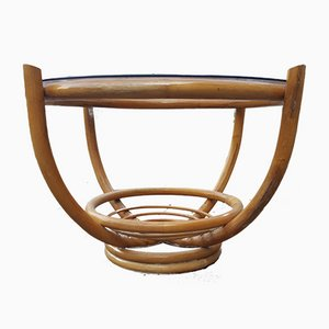 Runder Gartentisch mit Gestell aus Bambus, 1960er