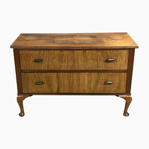 Small Vintage Chippendale Style Dresser with Walnut Burl