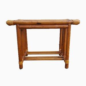 Mesa vintage de bambú y ratán, años 60