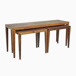 Tavolini ad incastro in palissandro di Severin Hansen per Haslev, anni '50