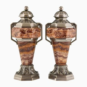 French Art Deco Marble and Bronze Urns, 1930s, Set of 2