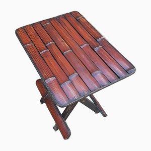 Kleiner klappbarer Vintage Tisch oder Hocker aus Bambus