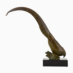 Art Deco Bronze Pheasant Sculpture by Andre Vincent Becquerel, 1920s
