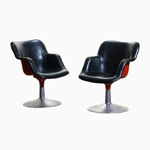 Junior Red & Black Leather Swivel Chairs by Yrjö Kukkapuro for Haimi, 1960s, Set of 2