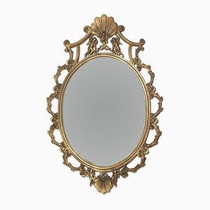Specchio Art Nouveau veneziano dorato in bronzo dorato