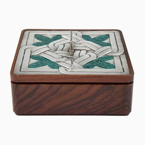 Enamel Sterling Silver and Wood Box from Ottaviani, 1960s