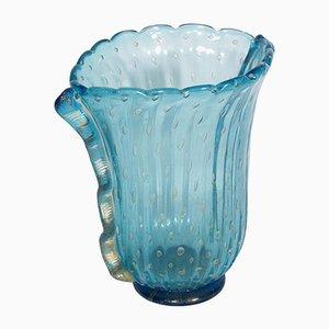 Art Deco Vase aus Muranoglas signiert von Fratelli Toso, 1950er
