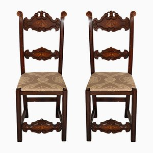 Venetian Gothic Style Carved Walnut Side Chairs, 1800s, Set of 2