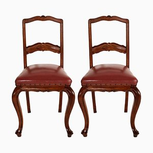 Neoclassical Hand-Carved Walnut & Leather Side Chairs, 1920s, Set of 2