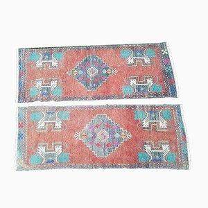 Alfombras Oushak turcas pequeñas de tejido plano, años 70. Juego de 2