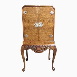 Queen Anne Style Burr Walnut Cocktail or Drinks Cabinet, 1920s