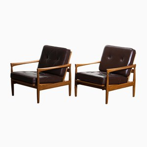 Oak & Brown Leather Easy Chairs by Erik Wörtz for Bröderna Andersson, 1960s, Set of 2
