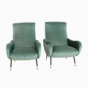 Mid-Century Italian Mint Green Velvet Armchairs, 1950s, Set of 2