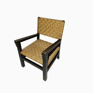Moderner Sessel mit geflochtenem Sitz & Holzgestell, 1930er