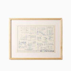 Planimetria Crown Hall blu di Mies van der Rohe, 1954