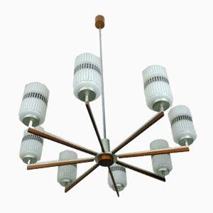 Grande Lampe à Suspension Vintage en Verre, Métal et Palissandre, 1960s