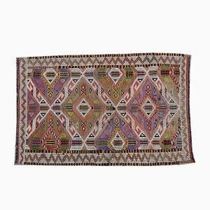 Kleiner Vintage Teppich mit Flachgewebe aus Wolle, 1970er