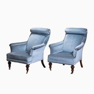 Ice Blue Velvet Dorothy Draper Style Lounge Chairs, 1900s, Set of 2