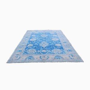 Großer blauer Vintage Oushak Teppich aus Wolle