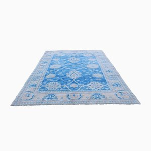 Tappeto Oushak vintage in lana blu