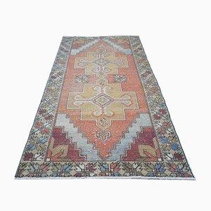 Alfombra Oushak de tejido plano de lana anudado a mano, años 70