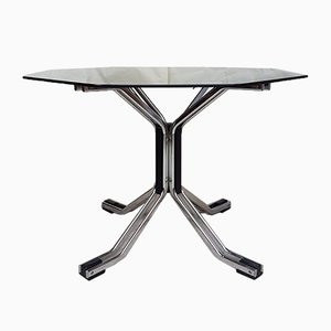 Mid-Century Chrome & Glass Hexagonal Pedestal Dining Table